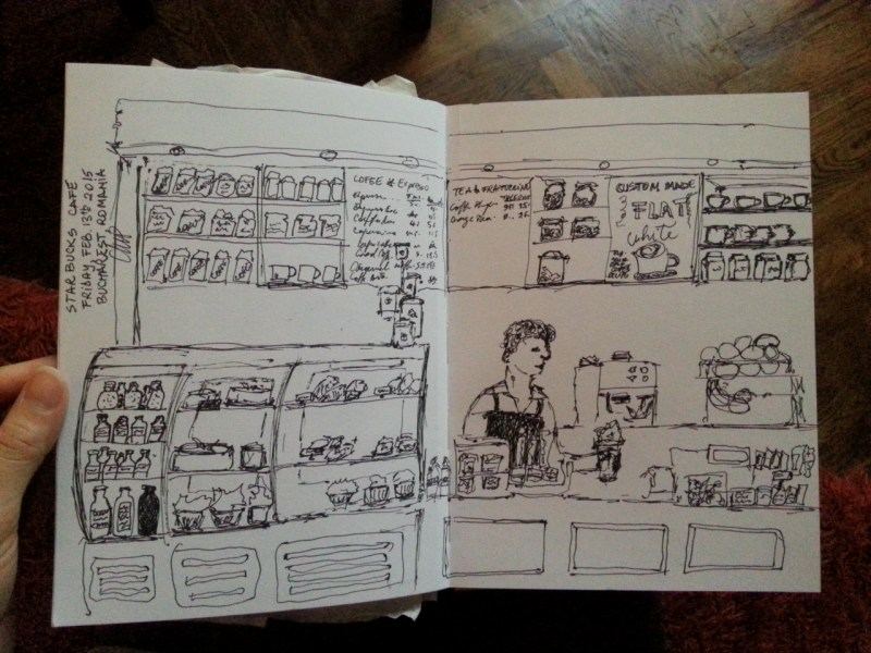 Starbucks cafe sketching by Cristina Parus @ creativemag.ro on Feb 13th-2015