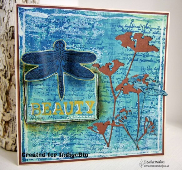IB brown & teal dragonfly wm