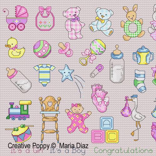 Maria Diaz - 36 Baby motifs (cross stitch pattern)