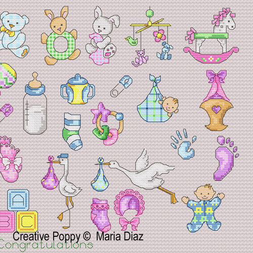Maria Diaz - 36 Baby motifs (cross stitch pattern) - baby chart