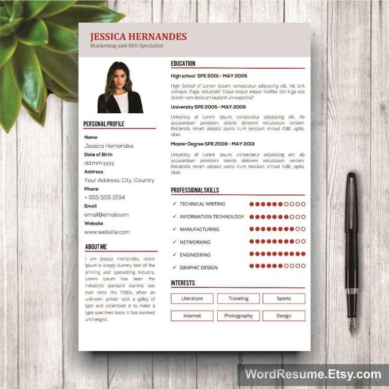 Clean Resume Template + Cover Letter Word - \ - clean resume template