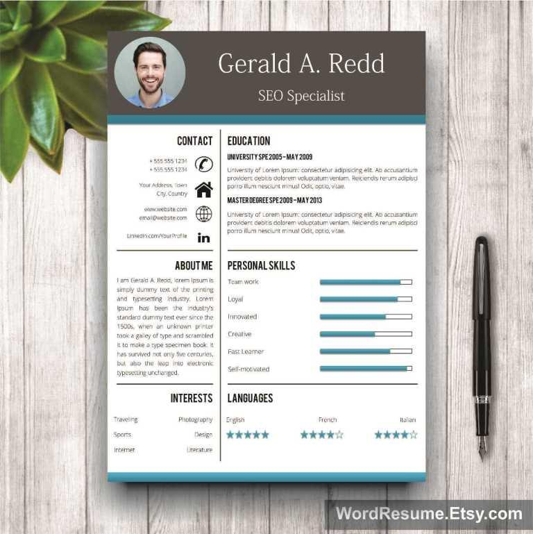 "Resume Templates For Word Free Download And Software Creative Cv Template Cover Letter Word – ""gerald A Redd"""
