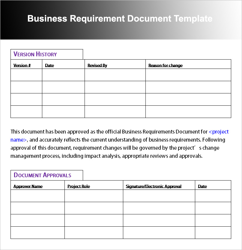Business Requirement Document Template \u2013 - business requirement documents