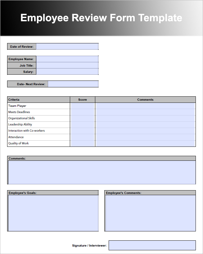 26+ Employee Performance Review Templates Free Word, Excel Formats - job performance evaluation form templates
