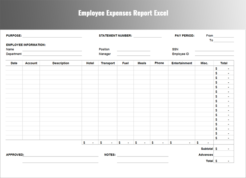 Expenses Report Template - Free Word,Excel Download Creative - expense report template