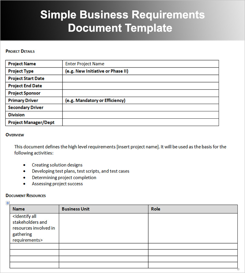 11+ Business Requirements Documents Free PDF, Excel Templates - business requirement documents