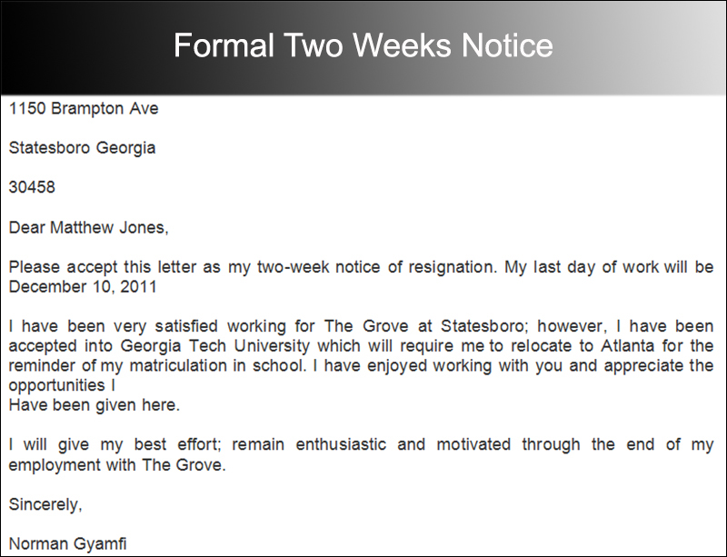 40+ Two Weeks Notice Letter Templates Free PDF Formats - notice form example