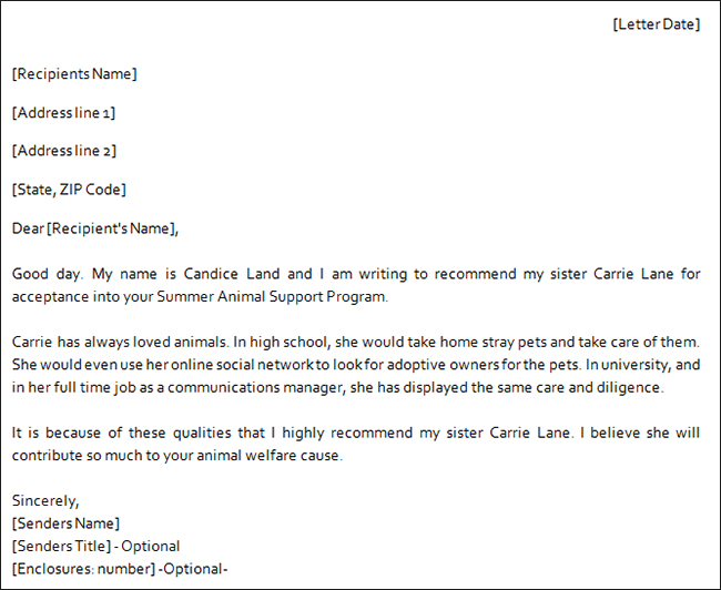 Family Reference Letter For Immigration Sample – Family Reference Letter