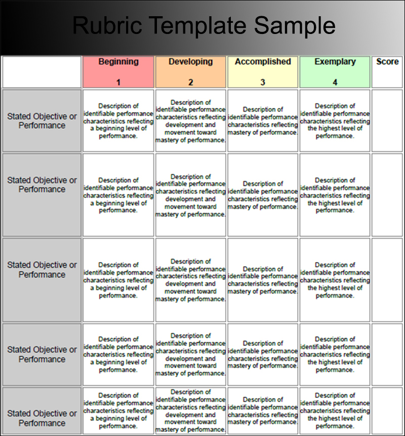7+ Rubric Templates Free PDF, Word, Excel Formats