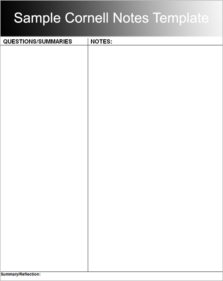 8+ Printable Cornell Notes Templates Free Word, PDF Format - Notes Template Word