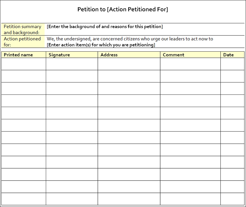 encourage people to sign up for your cause blank petition template - free petition templates examples