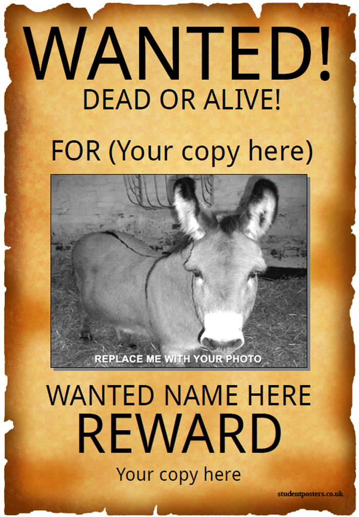 Free Printable Wanted Poster Free Clip Art Wanted Poster Template