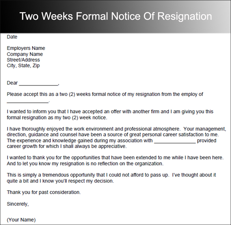 40+ Two Weeks Notice Letter Templates Free PDF Formats - two weeks notice letter