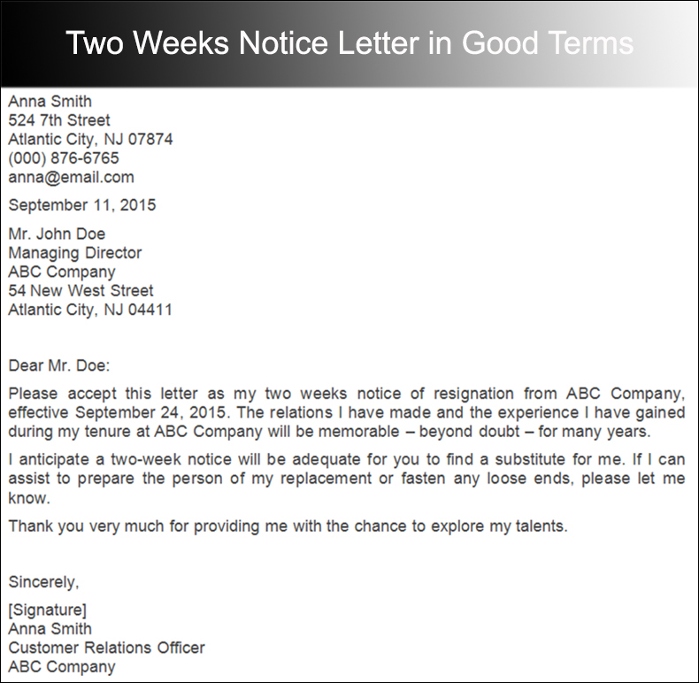 40+ Two Weeks Notice Letter Templates Free PDF Formats