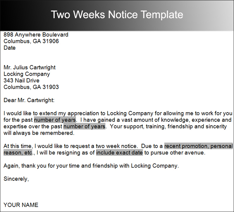 40+ Two Weeks Notice Letter Templates Free PDF Formats - 2 Weeks Notice Template