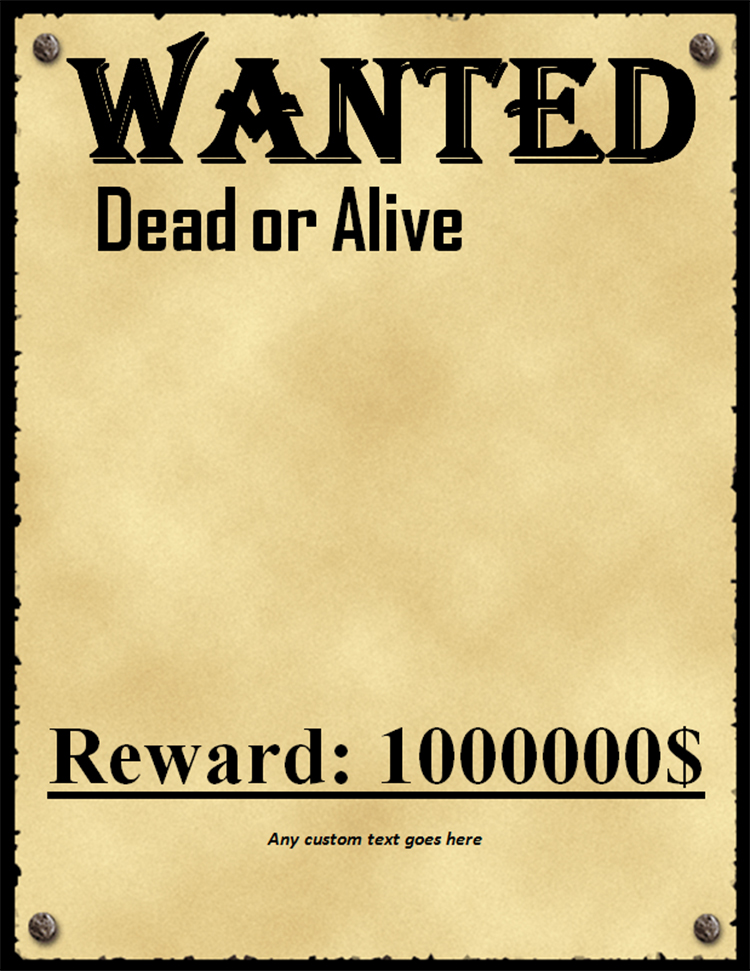 50+ Printable Wanted Poster Templates Free PDF, PSD Designs - most wanted posters templates