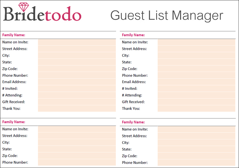 Wedding Guest List Template - Free Word, Excel, PDF Format - free wedding guest list template
