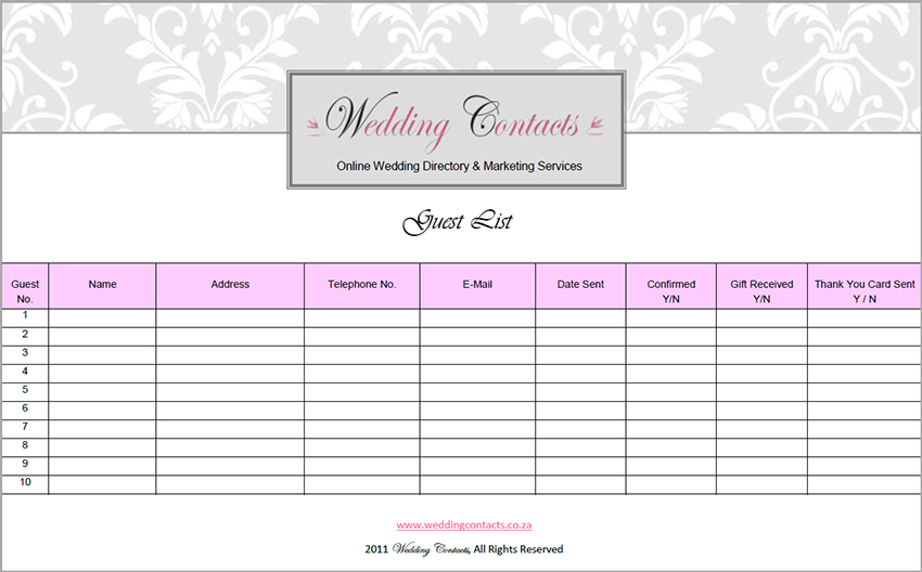wedding guest list printable template - 28 images - 35 beautiful
