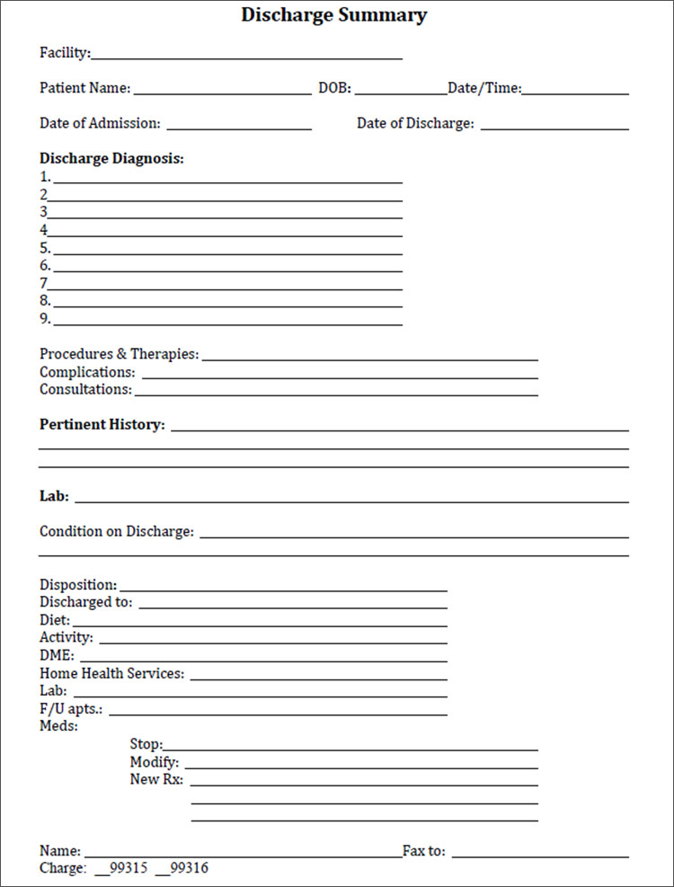 Discharge Summary Template in PDF, Word, Excel format Creative - hospital admission form template