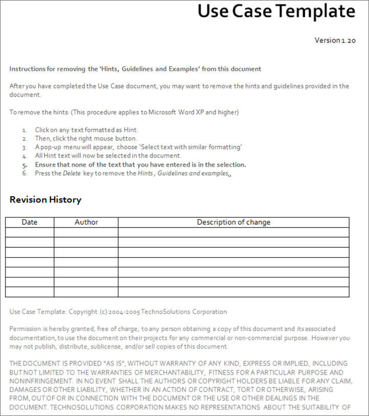case template - Militarybralicious - use case template