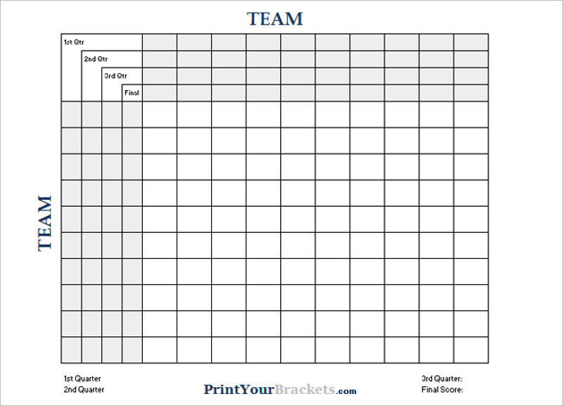 33+ Printable Football Square Templates Free Excel, Word Formats - football score sheet template
