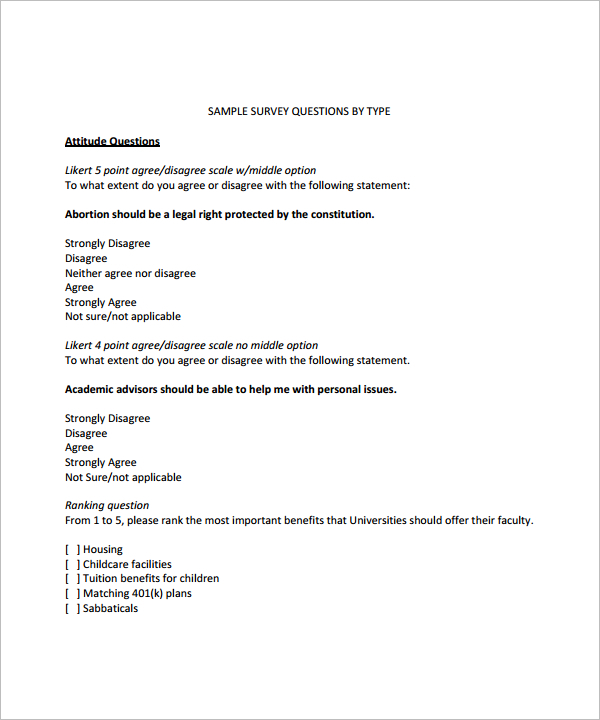 Survey Question Template Free Likert Scale Type Question Template