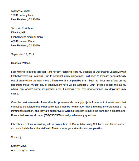 Two Weeks Notice Letter Templates - Free PDF, Word Documents - final notice template