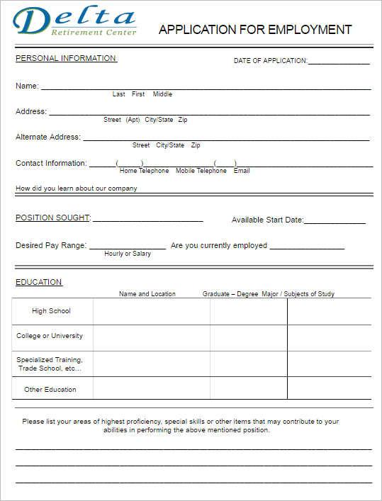 Online Job Application Form Html Template – Simple Application Form Format