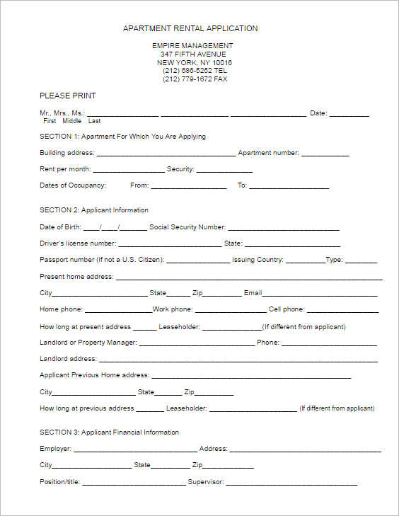 Rental Lease Agreement - 282+ Free Word, PDF, Excel, Format - apartment application form