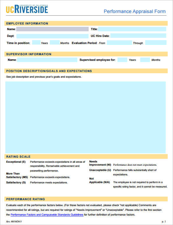 31+ Employee Evaluation Form Templates Free Word, Excel Examples