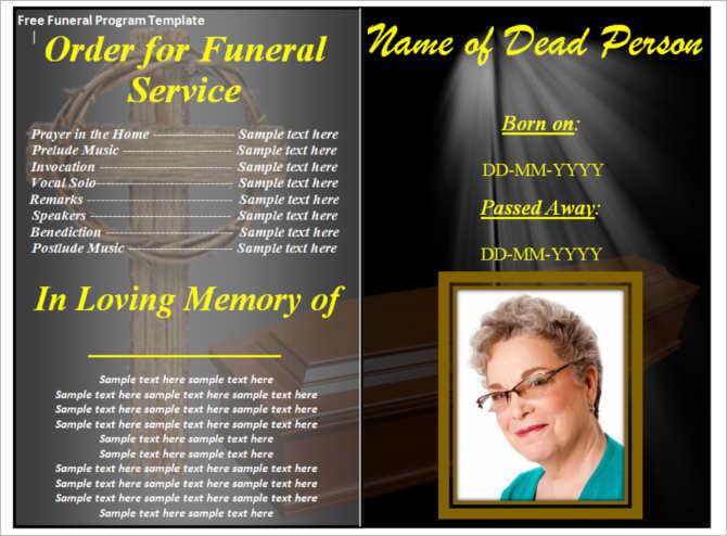 Sample Memorial Program Template Downloadable Funeral Bulletin - memorial program
