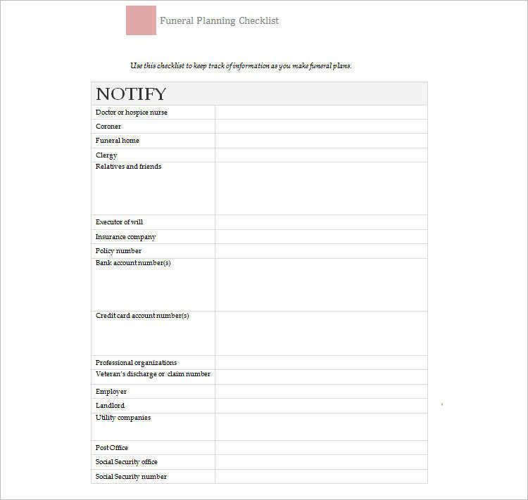 Printable Funeral Checklist Templates