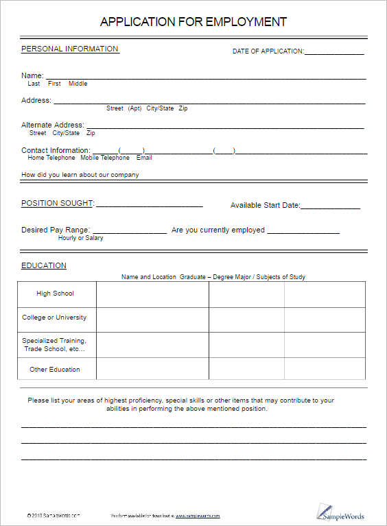 18+ Job Application Form Template Free Word, PDF, Excel Formats