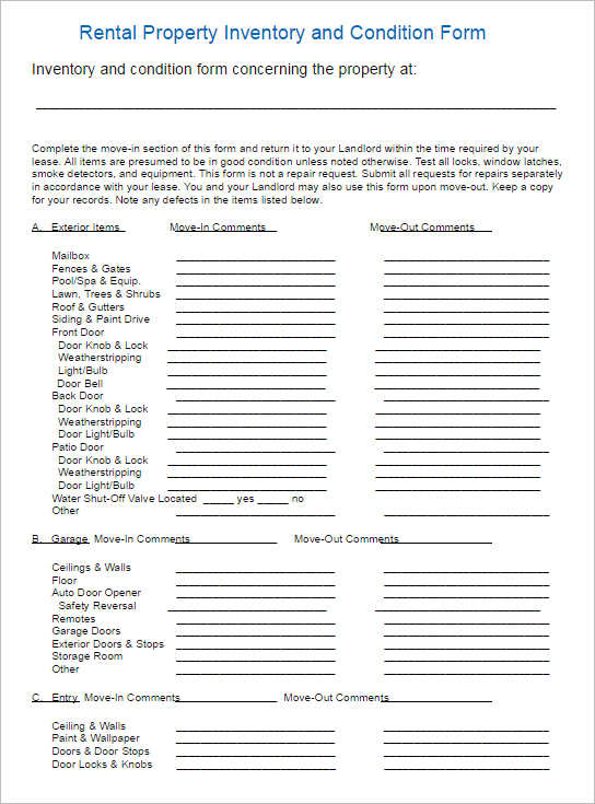 Rental Inventory Template Rental Lease Agreement Free Word Pdf - tenancy inventory template