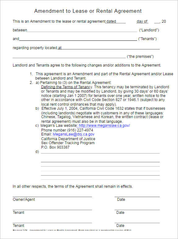Rental Lease Agreement - 282+ Free Word, PDF, Excel, Format - sample contract amendment template