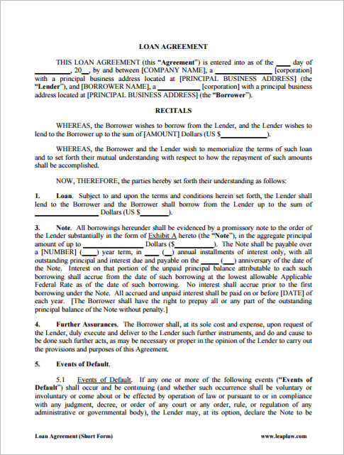 business agreement template word - Militarybralicious - loan documents template