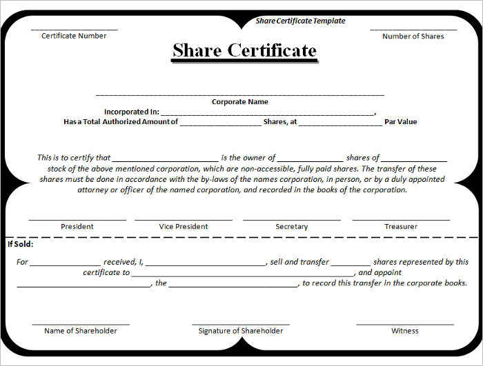 Share Certificate Template Free Pdf