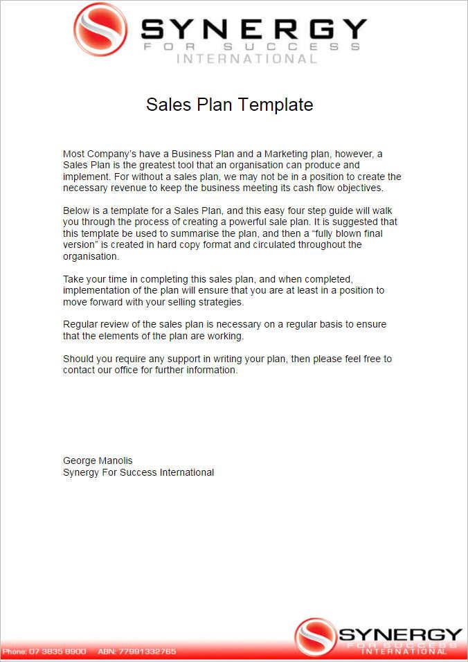Sales Plan Template - Free Word, Form, PDF Documents Creative - sales plan