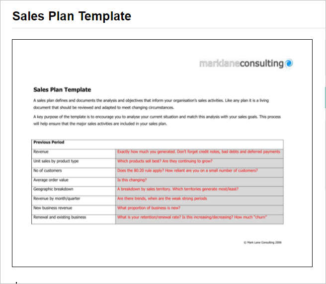 7+ Sales Plan Template Free Word, Form, PDF Formats - sales plan template