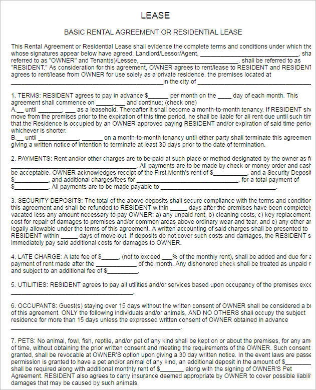 29+ Rental Agreement Form Free Word, PDF Templates - free simple lease agreement template