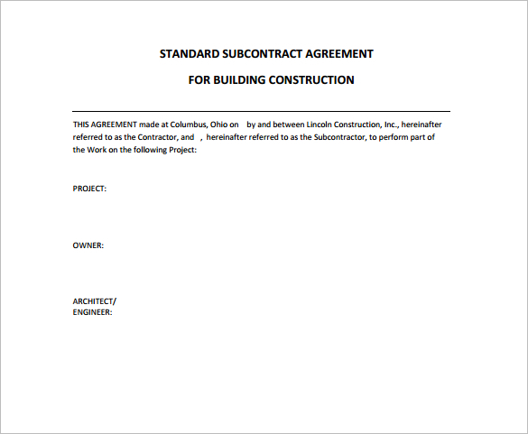 Sample Contract Agreement For Building Construction Gallery - free construction contracts