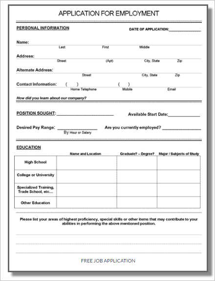 free job application form template word - Deanroutechoice - Job Application Template