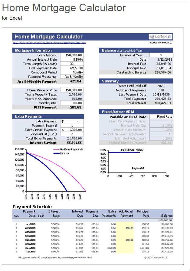 Excel Mortgage Loan Calculator Templates - Creativetemplate - mortgage payment calculator template