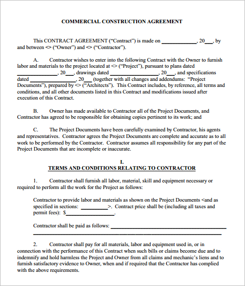 Construction Agreement Template - Word, Form, PDF, Excel Documents - free construction contracts templates