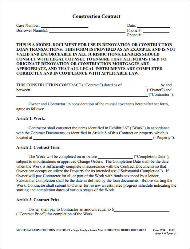 free contractor contract template - free construction contracts templates