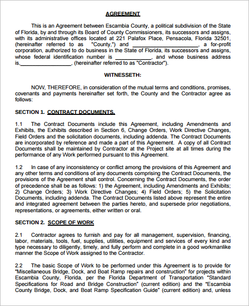 12+ Construction Agreement Template Free Word, PDF Formats
