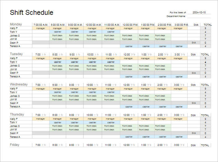 weekly shift schedule template - Delliberiberi - shift schedule template