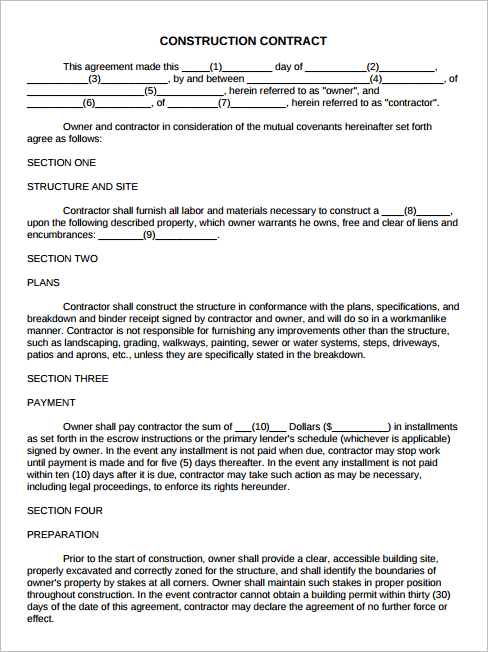 Free Construction Subcontractor Contract Template  Resume Cover