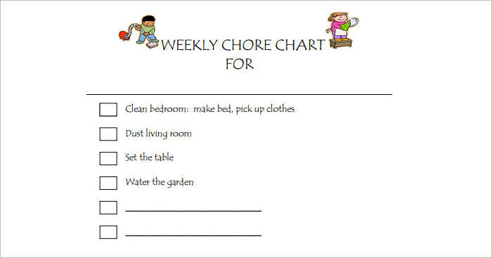 22+ Chore Chart Template Free PDF, Excel, Word Formats - kids chore chart template