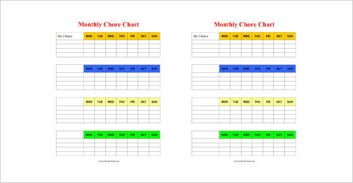 chore chart template word node2003-cvresumepaasprovider - General Color Chart Template